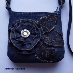Handmade denim crossbody bag
